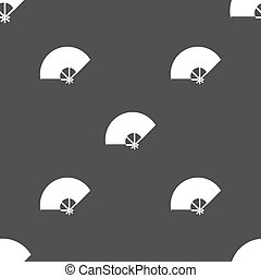Fan icon sign. Seamless pattern on a gray background. Vector...