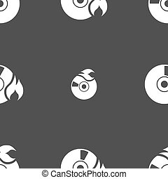 CD icon sign. Seamless pattern on a gray background. Vector...