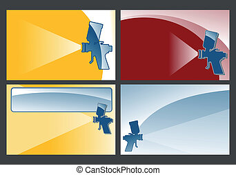 spray gun - various spray gun backgrounds - illustration