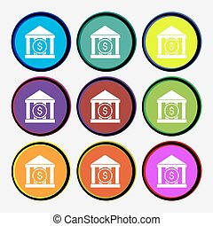 bank vector icon sign. Nine multi colored round buttons....