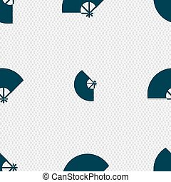 Fan icon sign. Seamless pattern with geometric texture....