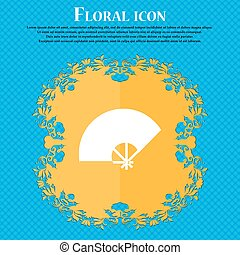 Fan icon icon. Floral flat design on a blue abstract...