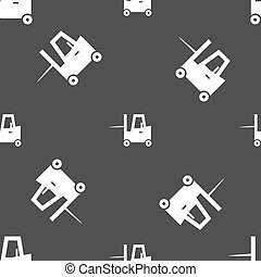 Forklift icon sign. Seamless pattern on a gray background....