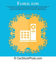 Hospital icon icon. Floral flat design on a blue abstract...
