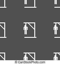 Suicide concept icon sign. Seamless pattern on a gray...