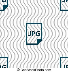 Jpg file icon sign. Seamless pattern with geometric texture....
