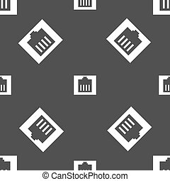 Internet cable, RJ-45 icon sign. Seamless pattern on a gray...