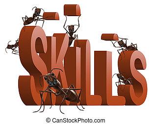 building skills - ants building red 3D word skills metaphor...