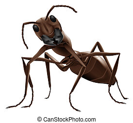 ant illustration close up of small insect isolated on white...