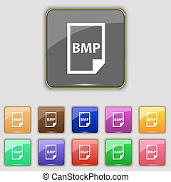 BMP Icon sign. Set with eleven colored buttons for your...