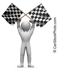 Men with checkered flags 3d