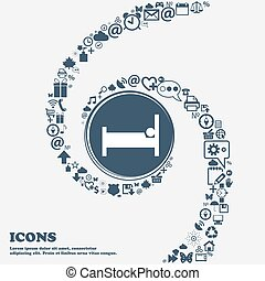 Hotel Icon in the center. Around the many beautiful symbols twisted in a spiral. You can use each separately for your design. Vector