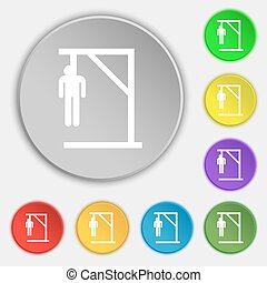 Suicide concept icon sign. Symbol on eight flat buttons....