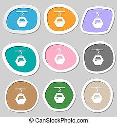 Cableway cabin icon symbols. Multicolored paper stickers....