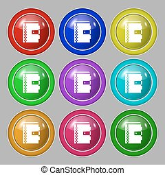 notebook icon sign symbol on nine round colourful buttons...
