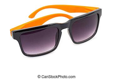 Black sunglasses with orange leg isolated