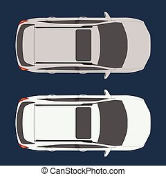 Car top view. Realistic and flat color style design vector.