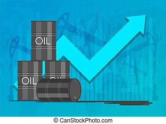 Oil industry concept. Raising prices chart. Financial markets vector illustration