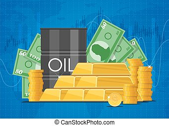 Oil cask, gold bars and piles of money. Business finance markets concept vector illustration