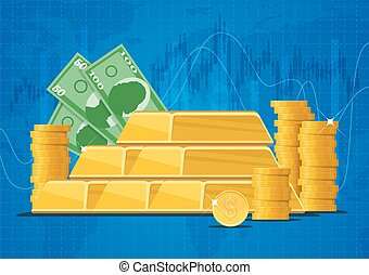 Gold bars, money banknotes and dollar coins. Business finance markets concept vector illustration in flat style design