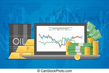 Barrel of oil price chart vector illustration in flat style....