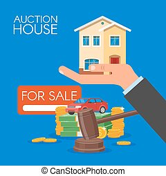 Auction and bidding concept vector illustration in flat...