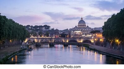 Beautiful view of Tiber river and Vatican dome, Rome, Italy