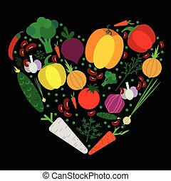 Paper vegetables flat style set in heart on a background. Vector EPS 10