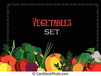 Paper vegetables flat style set on a background. Vector EPS...