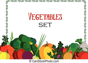 Paper vegetables flat style set on a background. Vector EPS 10
