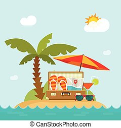 Summertime trip, resort island, beach, concept of happy summer holiday