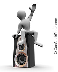 Man sitting on loudspeakers 3d