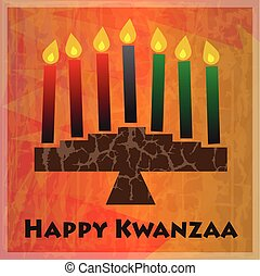Kwanzaa Greetings - Kinara and Happy Kwanzaa text on orange...