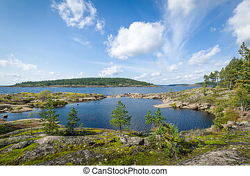 Panoramic view of Ladoga lake islands - Panoramic landscape...