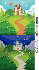 Scenes with castles in the forest day and night illustration