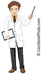 Ophthalmologist holding file and stick illustration
