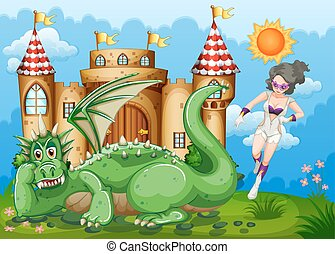 Superhero and green dragon at castle illustration