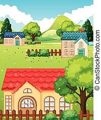 Neighborhood with many houses