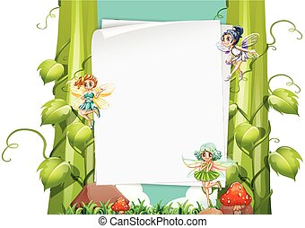 Paper design with fairies flying illustration
