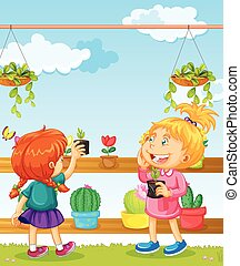 Two girls and many flower pots illustration