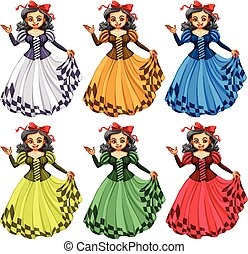Woman in different color dress illustration