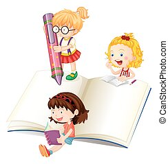 Girls reading and writing book illustration