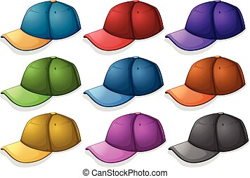 Caps in different colors illustration