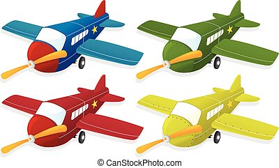 Airplane in four different colors
