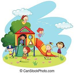 Children playing on slide in park illustration