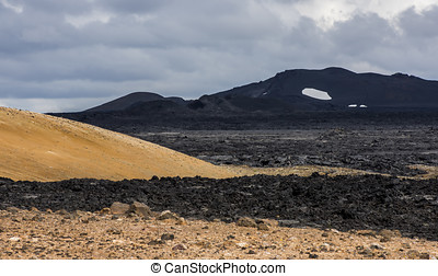 Black Ground of Geothermal Landscape Krafla, Iceland -...