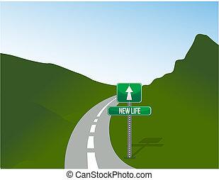 new life road sign and landscape illustration design