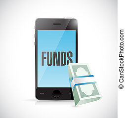 phone funds money online concept illustration design graphic...