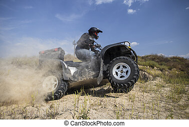 ATV Rider in the action. - Man rides on the race track on an...