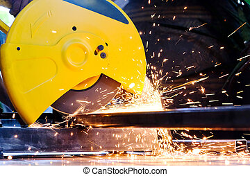 Metalworking - close up of cutting metal, Industrial Worker
